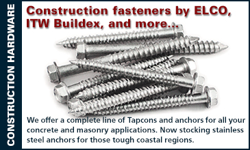 We offer a complete line of Tapcons and anchors for all your concrete and masonry applications. Now stocking stainless  steel anchors for those tough coastal regions.